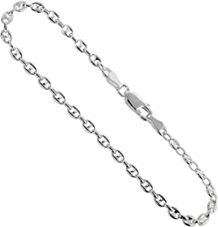 Sterling Silver Puffed Anchor Chain Necklaces & Bracelets 4.2mm Nickel Free Italy, Sizes 7-30 inch