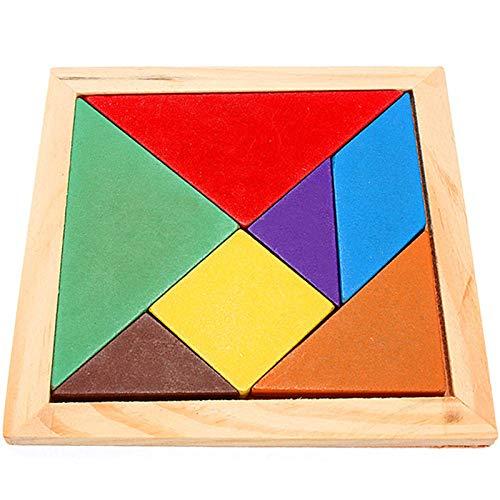 Teabelle Tangram en Bois en Bois Arc-en-Ciel Couleur Tangram DIY Puzzle en Bois Kid Jouet éducatif