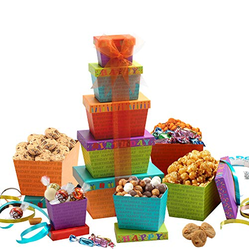 Broadway Basketeers Happy Birthday Celebration Gift Tower by Broadway Basketeers
