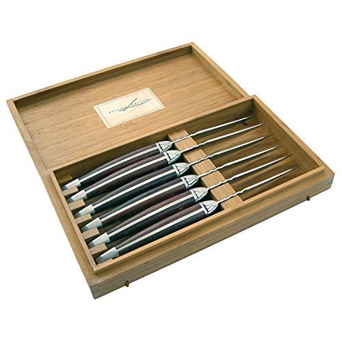 LAGUIOLE - Set mit 6 Fleischmessern - Edelstahl, Palisandergriff - Perfekte Kante - Zum Geben oder Danken dank der schönen Geschenkbox - Messer für Fleisch, Geflügel, etc. - -