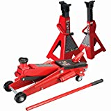 SUV 3 Ton Floor Jack with 3 Ton Jack Stands Heavy Duty Set Large SUV Truck Lift Torin...