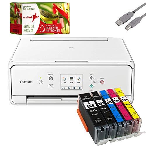 Bundle Canon PIXMA TS6251 Tintenstrahl Drucker Multifunktionsgerät weiß mit 5 komp. realink® Tintenpatronen für PGI-580/CLI-581 XXL (Drucken, Scannen, Kopieren)