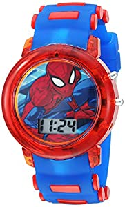 Kid's Digital Spiderman watch features a large Spiderman character on the dial. The red/blue strap and dial include a flashing LED light! This kid's Spiderman watch includes fun LED lights - just press the side button and the watch + strap illuminate...