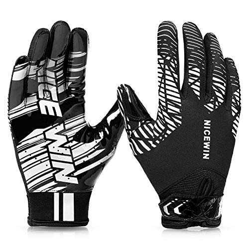 NICEWIN Football Gloves Adult Football Receiver Gloves for Men and Women White-Medium-Adult