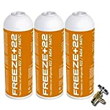REPORSHOP - 3 Botellas Gas Ecologico Refrigerante Freeze +22 400Gr + Valvula Organico Sustituto R22, R404, R407C