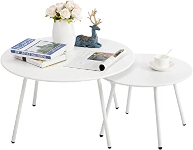 """HollyHOME Modern Round Side Table Set of 2, Contemporary Accent Coffee and Snack End Table, Nesting Tea Table for Living Room, (D) 27.56"""" x(H) 15.75"""", (D) 19.69"""" x(H) 13.78"""", White"""