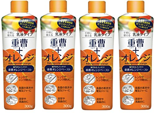 【まとめ買い】重曹オレンジペースト 乳液タイプ 重曹+オレンジオイル配合 レンジやシンク周り、食器や茶渋のガンコな汚れ・ニオイを洗浄 300g×4個
