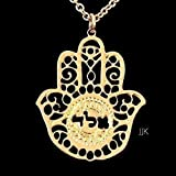 Kabbalah Hamsa Jewelry, Gold Necklace, Hand Shaped Necklace, Hamsa Jewelry, Spiritual Jewelry, Hebrew Necklace, Jewish Jewelry for Women Packaged and Ready for Gift Giving, Handmade in Israel