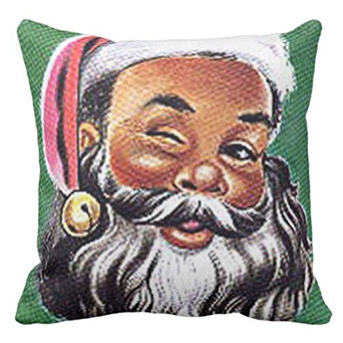VaryHome Throw Pillow Cover African American Black Santa Claus Christmas Decorative Pillow Case Home Decor Square 16 x 16 Inch Cushion Pillowcase