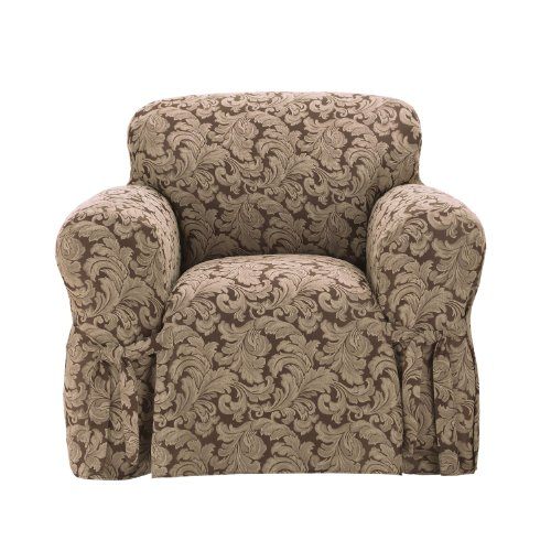 SureFit Scroll 1-Piece - Chair Slipcover - Brown