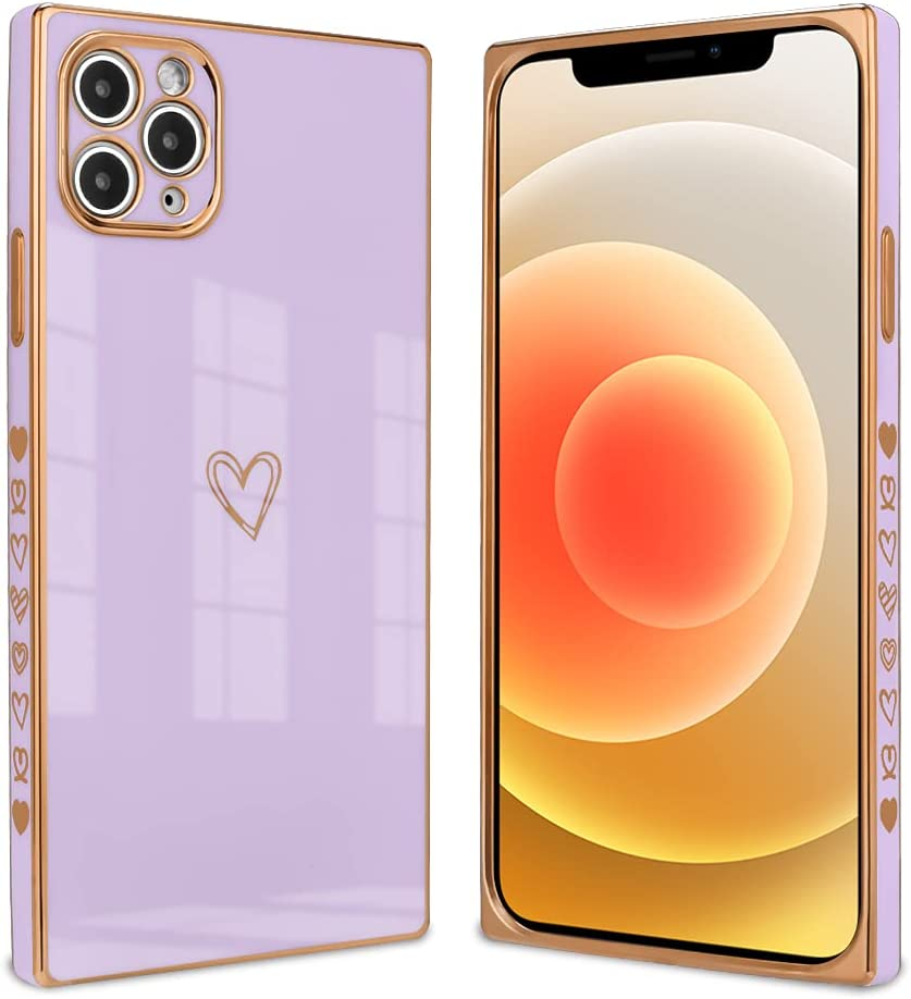 Ownest Compatible with iPhone 11 Pro Max Case,Cute Square Love Heart Pattern Design Electroplate Edge Bumper Shockproof Full Camera Lens Protective Cases for iPhone 11 Pro Max-Purple