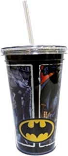 Batman In Action Poses Acrylic Cup Double Walled Cup with Lid and Straw