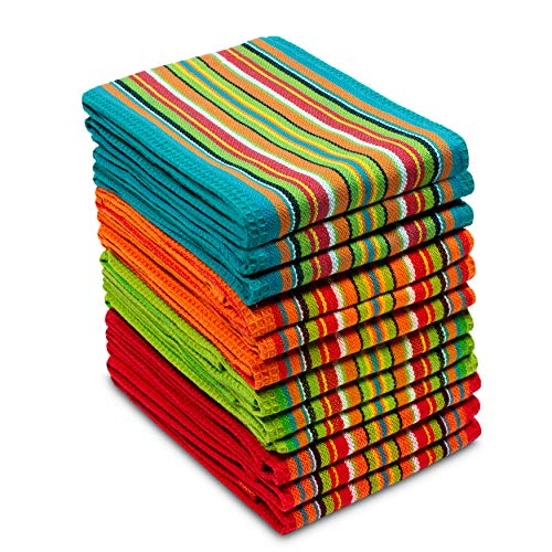 COTTON CRAFT 12 Pack Salsa Stripe Multi-Color Kitchen Towels 16x28 Inches- 100% Cotton