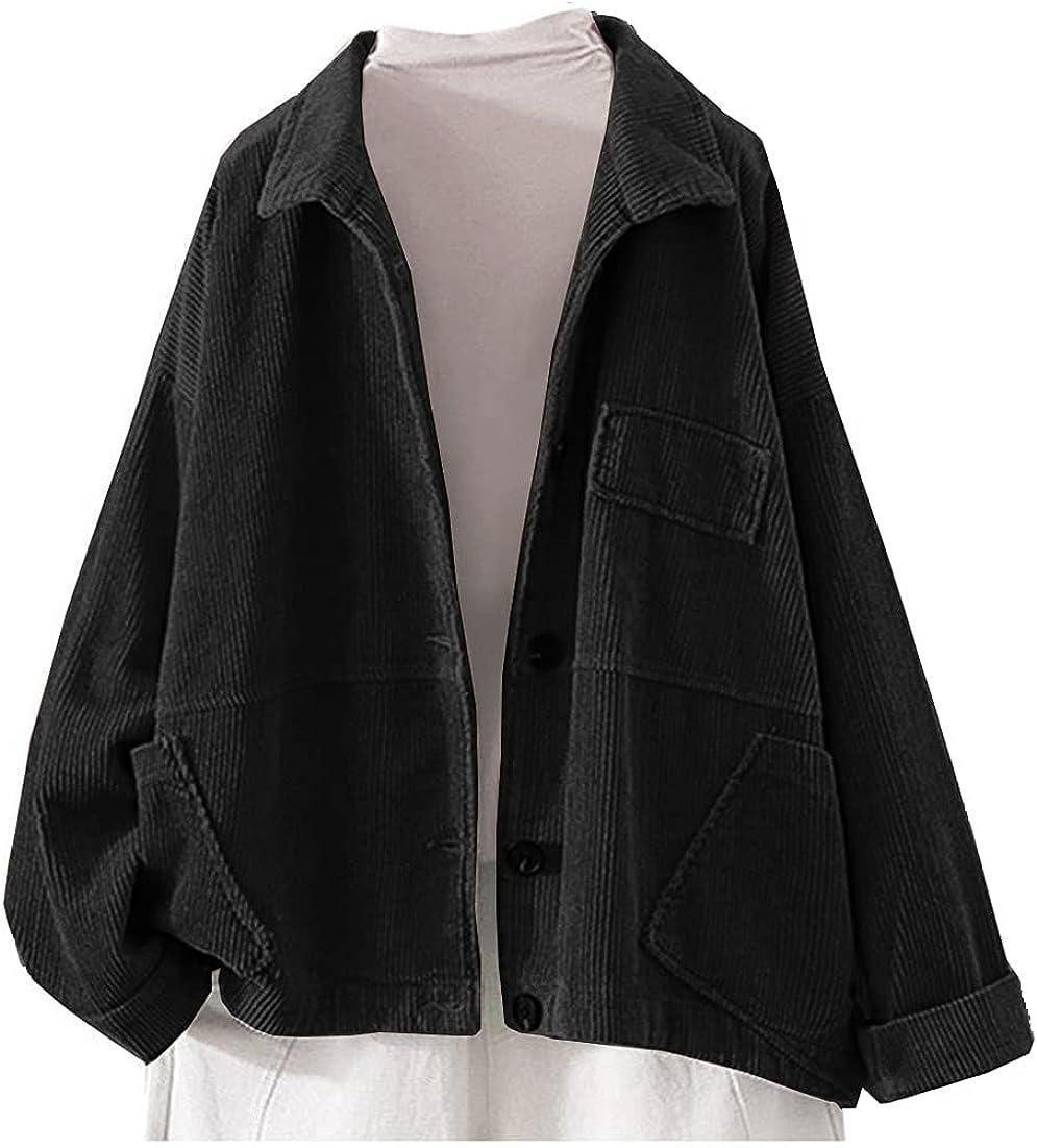 Ladyful Women's Baggy Corduroy Jacket Lapel Long Sleeve Coat Outwear