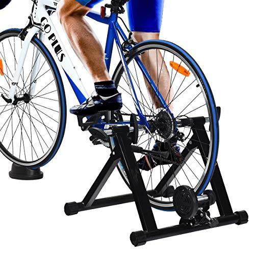 GOPLUS Rollentrainer für Fahrrad, Fahrradtrainer für 26-28 Zoll, Heimtrainer Klappbar, bis zu 100 Kg Belastbar, aus Stahl, inkl. Vorderradstütze, ohne Magnet-Widerstand