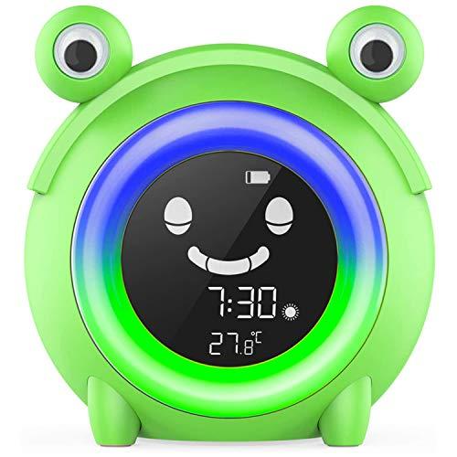 Digitaler Kinderwecker mit 5 wechselbaren Farben, Nachtlicht für Innentemperatur, Nickerchen, Baby, Kinder, Schlaftraining, Nachttischuhr (Frosch)