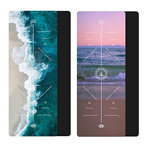 Tapis de yoga Mateau de yoga en caoutchouc naturel vague avec ligne de position Tapis de tapis antidérapant pour les tapis de gymnastique de gymnastique de fitness environnementale débutant Bonne flex