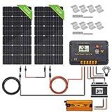 ECO-WORTHY Panneau solaire 200W 24V: 2 panneaux solaires imperméables de 100W, contrôl6eur 20A, câbles solaires de 5 m et autres accessoires Matériau en pour camping-car de caravaning