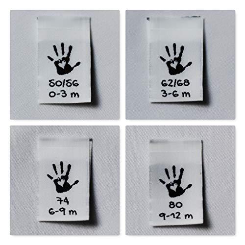 Sylter Nähkultur 40 Grössenetiketten Mixpaket 50/56 & 62/68 & 74, 80 je 10 Stück Kinder Baby Handmade Webetiketten zum einnähen