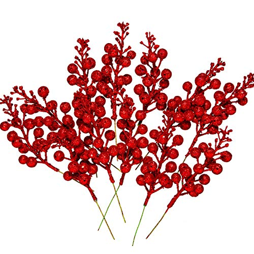 Whaline 12Pcs Christmas Glitter Berries Stems 8.3 Inch Artificial Fruit Berry Picks Holly Berry Twig for Xmas Tree Ornament DIY Craft Christmas Wreath Garland Winter Holiday Decoration, Red
