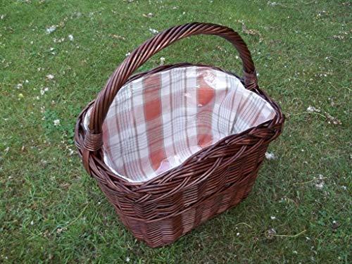 Unbekannt Einkaufskorb, Fahrradkorb, Fahrradgepäckträgerkorb mit Längsgriff aus Weide