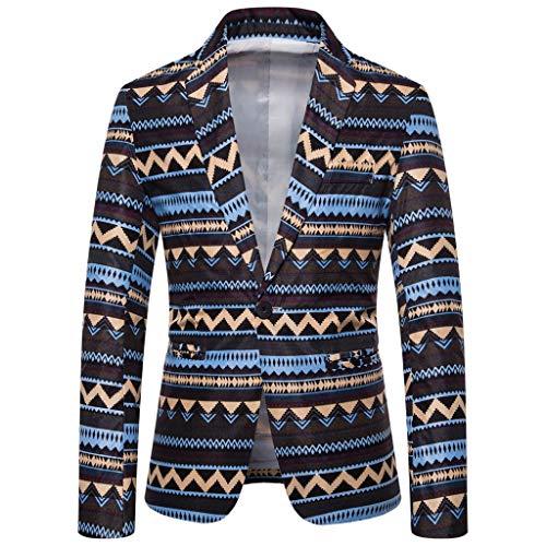 Tosonse Blazer Männer Casual Vintage Umlegekragen Langarm Print Floral Blazer Cropped Hoodie Coat