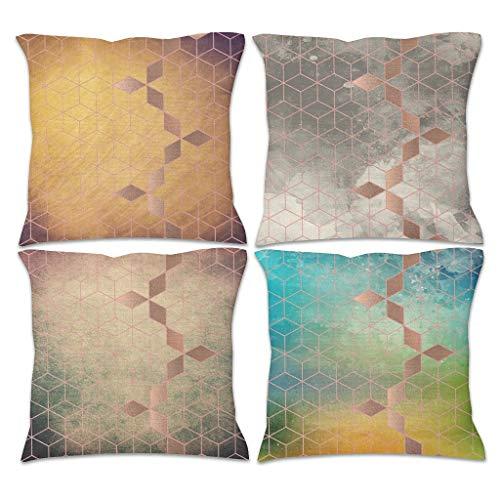 4 Stück Leinen-Kissenbezüge Retro Kissenbezüge Vintage Gradient Grid Thema gedruckt Quadratisch Throw Pillow Hülle - Moderne Kunst für Schlafzimmer Dekoration weiß 45 x 45 cm