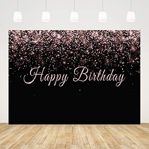 Happy Birthday Backdrop for Adult Party 16th 30th 40th 50th 60th Birthday Background 7x5ft Black and Rose Gold Birthday Backdrops for Photography Teens Girls Cake Table Banner Pink Photo Booth Props