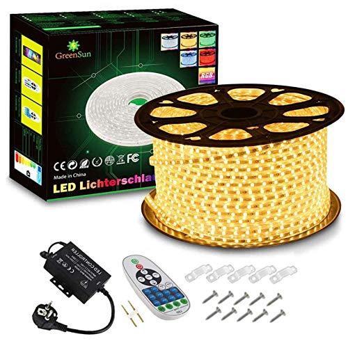 GreenSun LED Lighting Flexible Ruban à LED, 100m Blanc Chaud LED Strip Light 5050 SMD, étanche IP7 LED Bande lumière Pour Les Jardins, Maisons, Cuisine, Fête de Noël