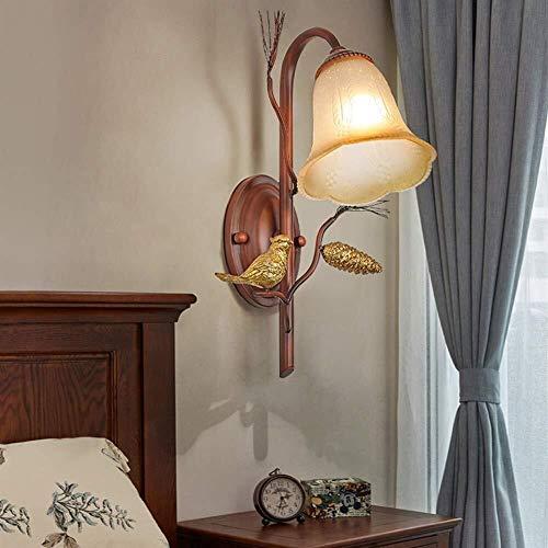 DINGYGJ Lámpara de dormitorio vintage Luz de Pared junto a la cama Iluminación interior Apliques de Pared Pantalla de vidrio Lámpara de Pared de metal Decoración de la sala Linterna de Pared E27 [Clas