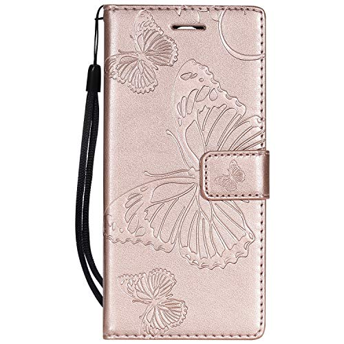 Tiga Shopping Custodia Nokia 3.1 - Alta qualità Flip PU Pelle Custodia Farfalla Reticolo Impresso/Stent/Wallet/with Card Holder/Protezione Case Cover per Nokia 3.1(Oro Rosa)