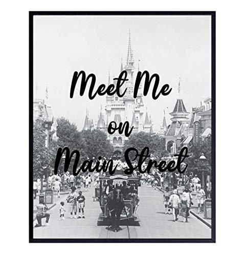 Disney World Photo Art Print - Meet Me On Main Street - Vintage Wall Art Poster -Chic Home Decor for Boys, Girls, Kids Bedroom, Family Room, Bathroom - Mickey Mouse, Disneyworld, Disneyland Gifts