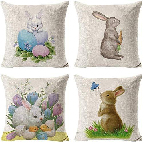 Conjunto de giyiohok de 4 Cubiertas de Cojines Decorativos para sofá Cama - 45 x 45 cm - Patrón de Hojas Tropicales - algodón y Lin-Conejito de Pascua 2.