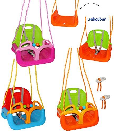 alles-meine.de GmbH mitwachsende - Gitterschaukel / Babyschaukel mit Gurt -  ORANGE / GRÜN / GELB  - Leichter Einstieg ! - verstellbar & mitwachsend - belastbar 100 kg - Kinder..