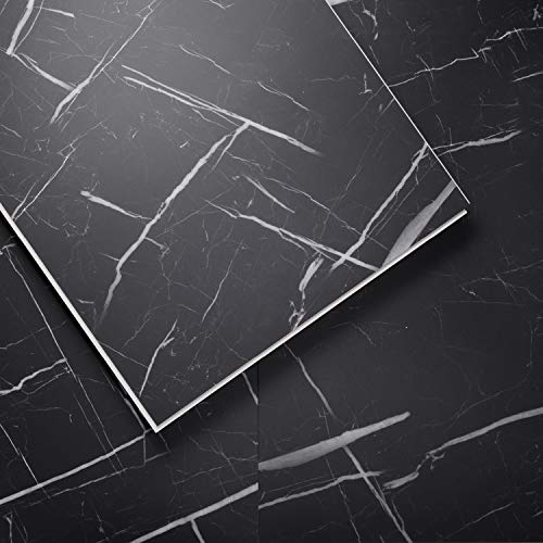 LUCiDA SURFACES Luxury Vinyl Flooring Tiles-Interlocking Flooring for DIY Installation-8 Stone-Look Planks-Nero Marquina-TerraCore-16 Sq. Feet