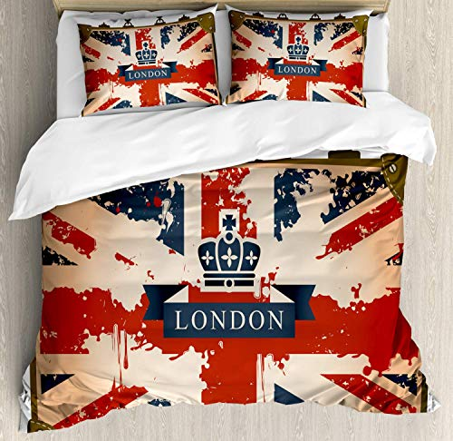 459 Union Jack Duvet Cover Bedding Set, Vintage Travel Suitcase with British Flag London Ribbon and Crown Image, Decorative 3 Piece Bedding Set with 2 Pillow Shams, Queen Size, Blue Brown