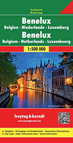 Benelux. Bélgica, Holanda y Luxemburgo, mapa de carreteras. Escala 1:500.000. Freytag & Berndt.: Wegenkaart 1:500 000 (Auto karte)