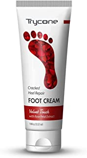 Trycone Cracked Heel Repair Foot Cream Velvet Touch with Rose Petal, 100 Gm