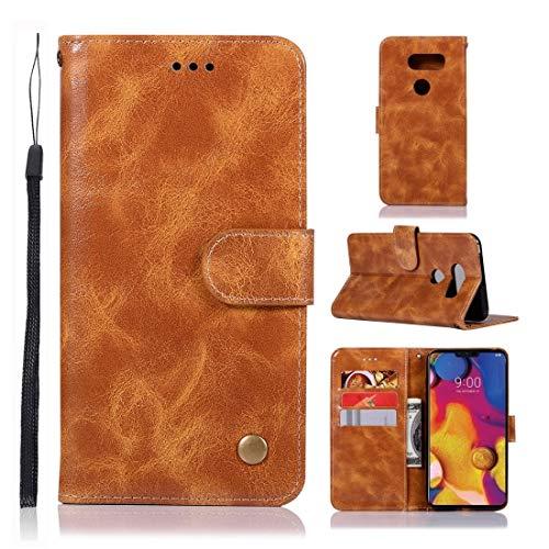 Memeti - Funda de piel sintética para LG V40 ThinQ, diseño de caballo loco con hebilla de cobre horizontal, con tarjetero, ranuras para tarjetas, cartera y cordón, color rojo vino.