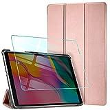 AROYI Custodia Cover Compatibile con Samsung Galaxy Tab A 10.1 2019 con Vetro Temperato, Ultra Sottile Leggero Supporto Protettiva Tablet in Pelle PU Case, Rose Gold