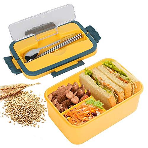 Lunch Box Portatile, Lunch Box Partizionato, Lunch Box per Impiegati E Studenti, Forno a Microonde Che Riscalda Stoviglie di Grande capacità con Cucchiaio E Bacchette