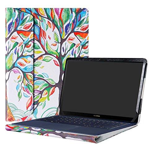 """Alapmk Diseñado Especialmente La Funda Protectora de Cuero de PU para 14"""" ASUS ZenBook 3 Deluxe UX490UA Series Ordenador portátil,Love Tree"""