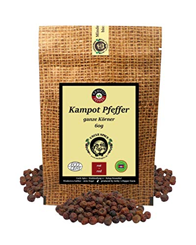 Uncle Spice roter Kampot Pfeffer - 60g Kampot Pfeffer rot - Premiumqualität - ganze sonnengetrocknete Pfefferbeeren, echte rote Pfefferkörner ganz, handverlesen für die Mühle, Perfekt als Geschenk