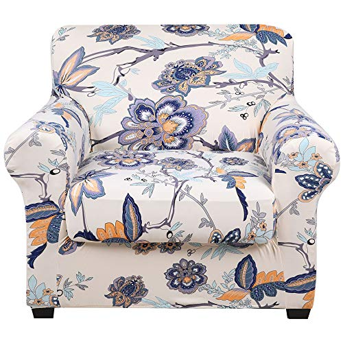 hyha Printed Couch Chair Cover - Floral Pattern Sofa Cover with Separate Cushion Cover, 2 Piece Stretch Armchair Slipcover Washable Furniture Protector (Armchair, Vintage Flower)