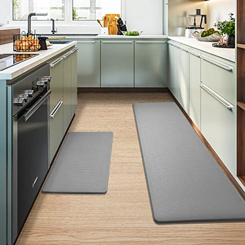 Color&Geometry Kitchen Rugs, Kitchen Rug Set 2 Piece Kitchen Runner Rug Kitchen Floor Mat, Cushioned Anti Fatigue Kitchen Mat Non Skid Waterproof Comfort Standing Kitchen Rug, 17'x29'+17'x59', Grey