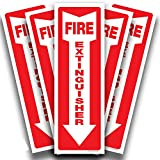 Fire Extinguisher Signs Stickers – 5 Pack 4x12 Inch – Premium Self-Adhesive Vinyl Decal, Laminated for Ultimate UV, Weather, Scratch, Water & Fade Resistance, Indoor & Outdoor