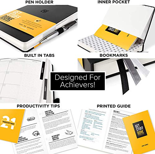 """Product Image 2: Get Stuff Done Planner for Productivity – 13 Week Undated Planner, 8.3"""" x 5.5"""" – Monthly, Weekly And Daily Agenda – Best For Full Focus And Achieving Goals – Personal Organizer for Men & Women"""