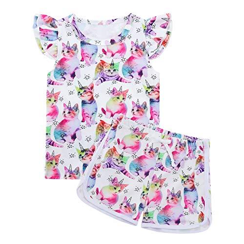 Lovekider Mädchen Kleidung Shorts Set 2-3 Jahre Sommerkleidung Kätzchen Muster Rüschenärmel Bekleidungsset Outfits