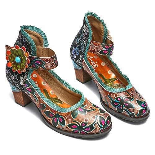 Gracosy Cuero Zapatos de Tacón Medio de Mujer