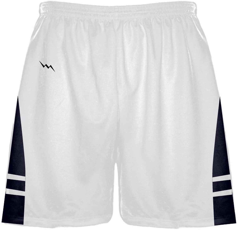 LightningWear Men's Athletic ShortsBasketball ShortsLacrosse ShortsSoccer ShortsWhite Navy bluee